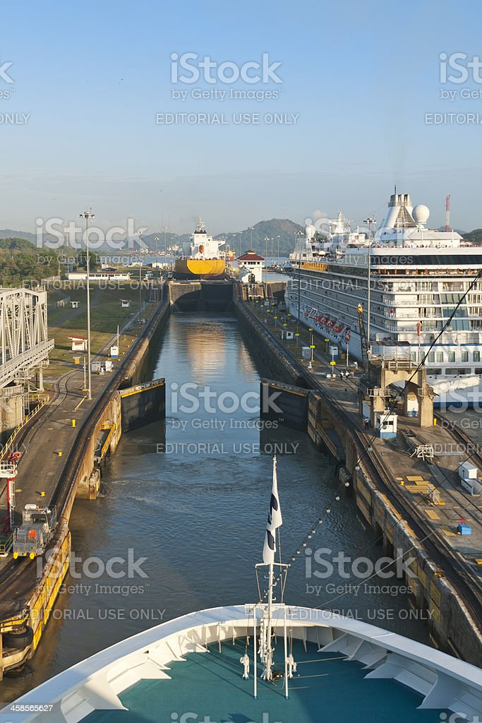 Cruise Ship Entering the Miraflores Locks Panama Canal stock photo
