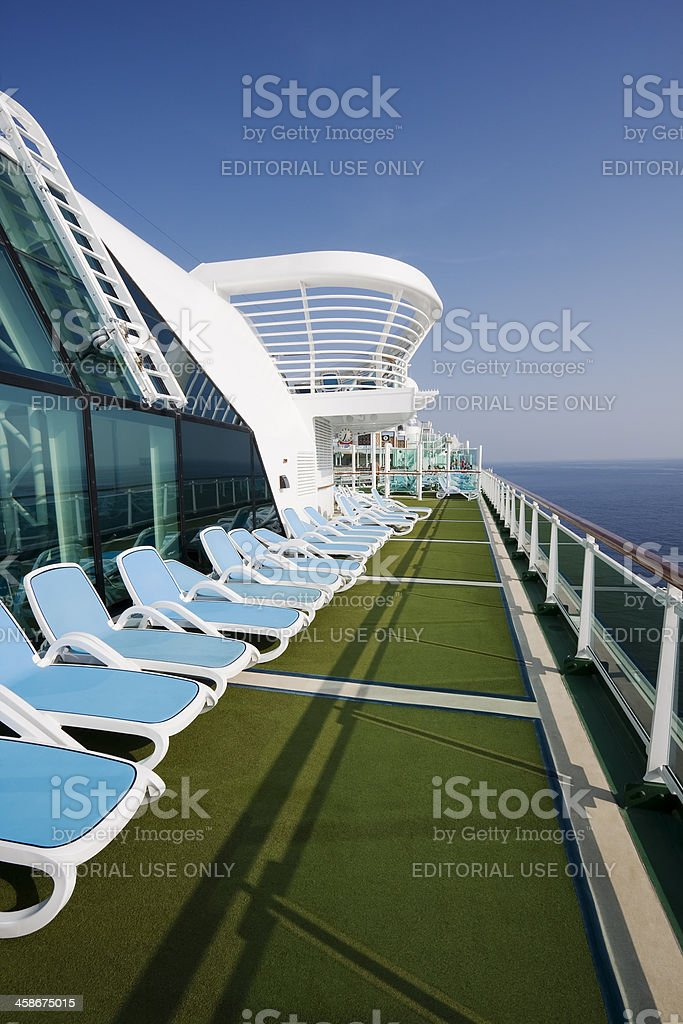 Cruise ship - evening on deck stock photo