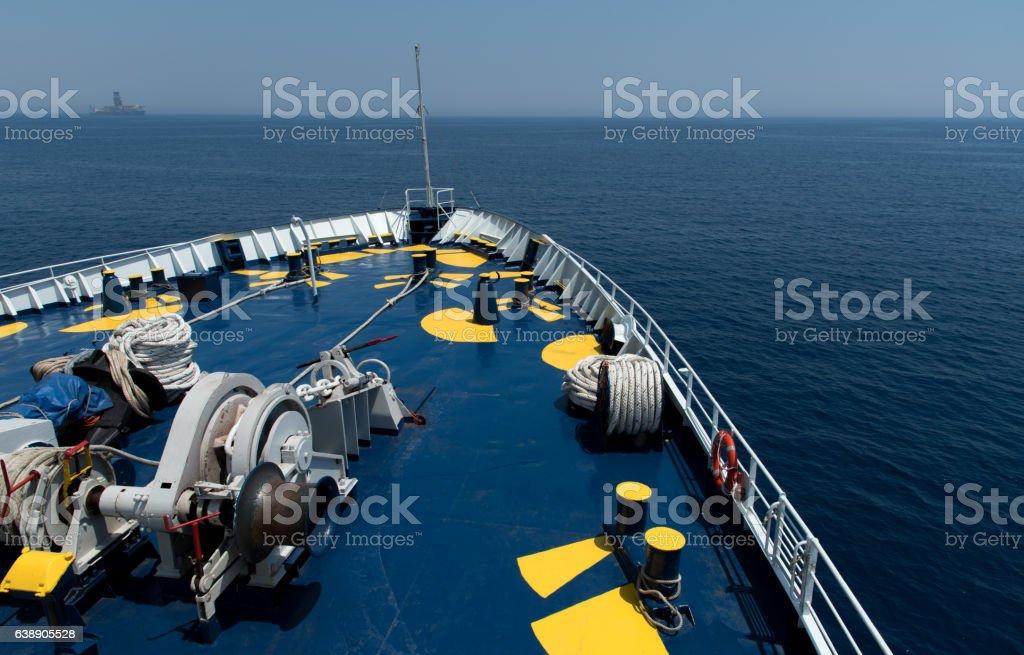 Cruise Ship foredeck stock photo