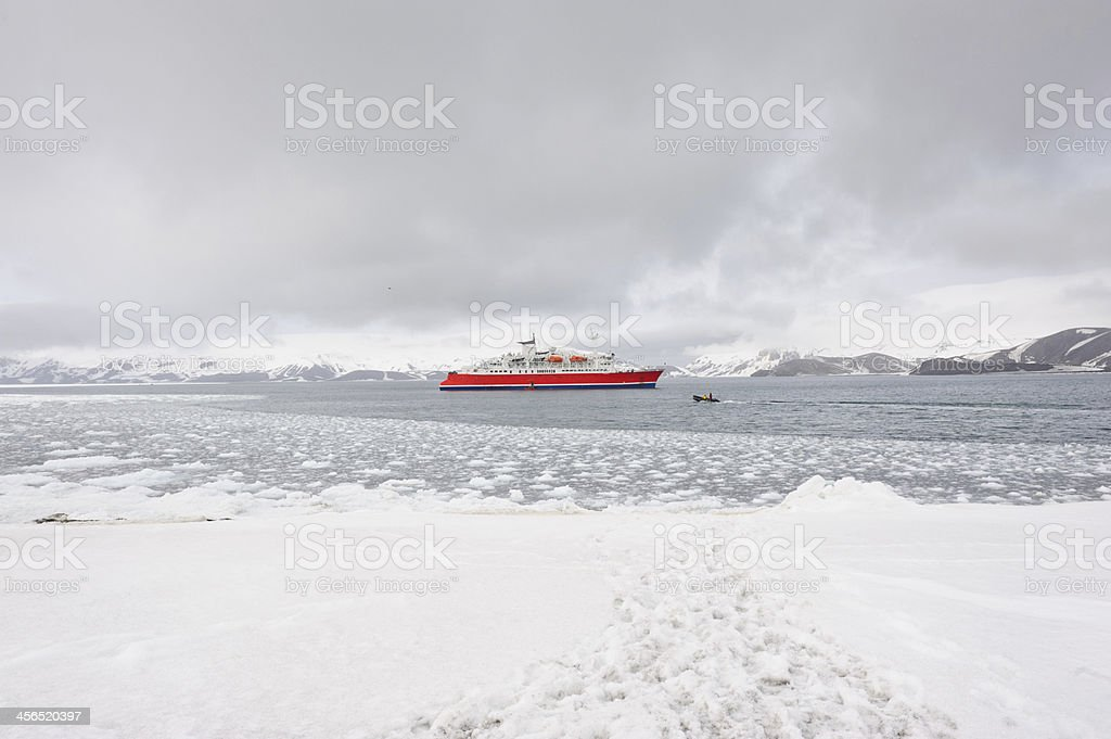 Cruise ship from Deception island stock photo