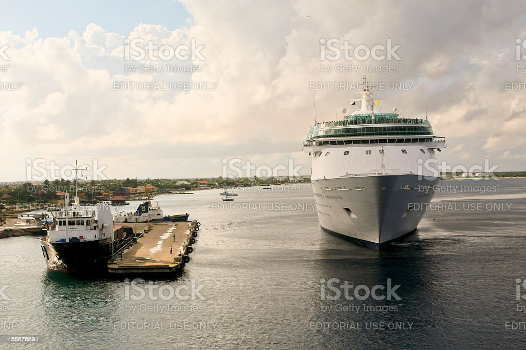Cruise Ship, Grandeur of the Seas, Mooring at Kralendijk, Boniare royalty-free stock photo
