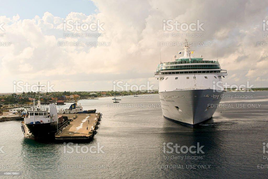 Cruise Ship, Grandeur of the Seas, Mooring at Kralendijk, Boniare stock photo