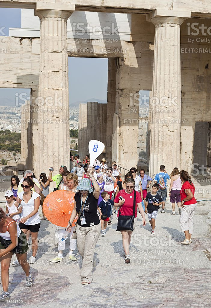 Cruise Ship Group At The Parthenon royalty-free stock photo