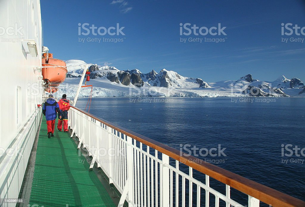 Cruise ship, icebreaker, with lifeboat stock photo