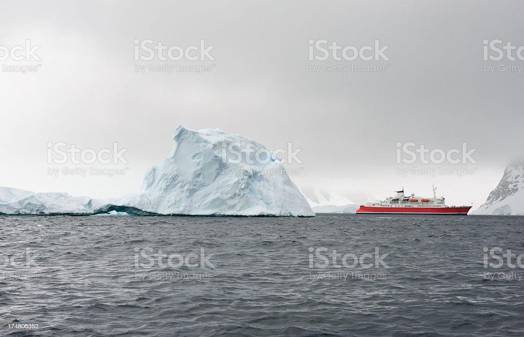 Cruise ship in Antarctica royalty-free stock photo