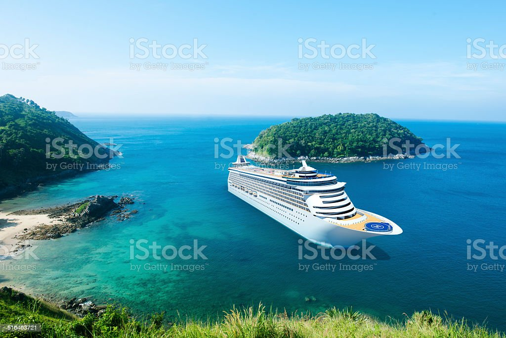 3D Cruise Ship in Beautiful Ocean with Blue Sky stock photo
