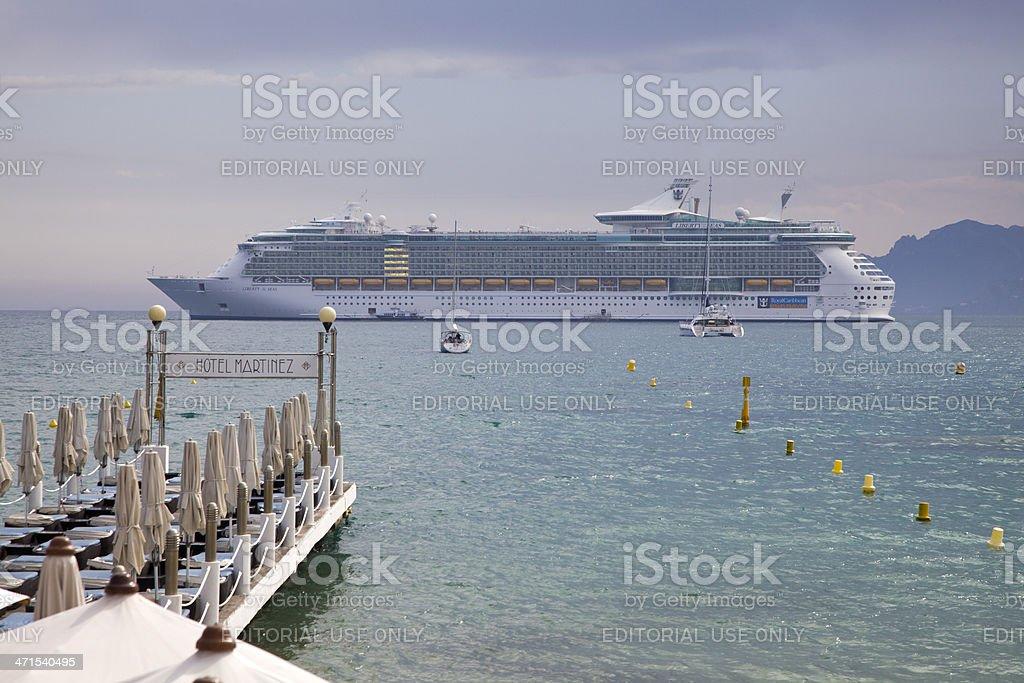Cruise Ship in Cannes Bay Sunny Haze royalty-free stock photo