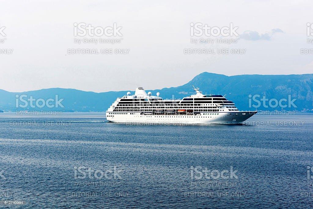 Cruise ship in Corfu, Greece stock photo