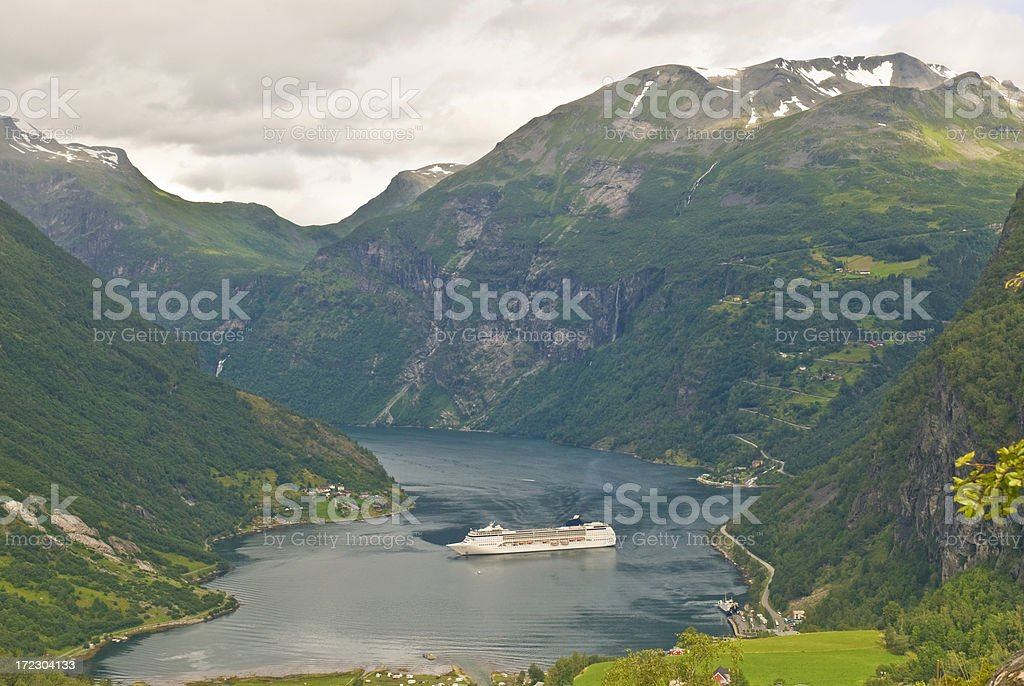 Cruise ship in fjord royalty-free stock photo
