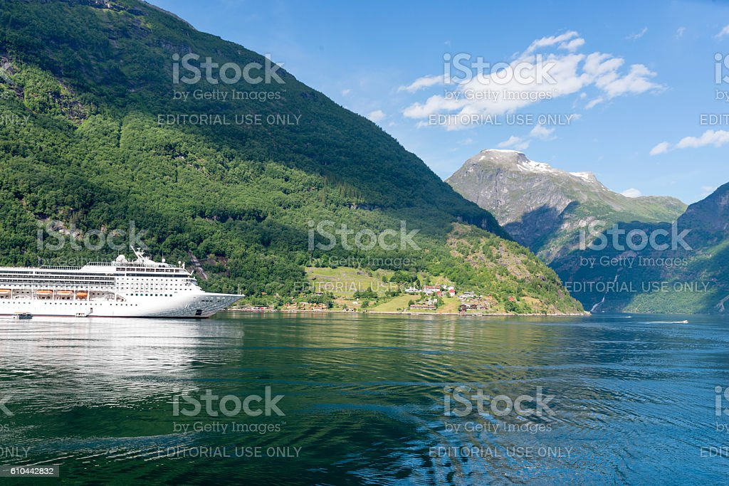 Cruise ship in Geirangerfjord, Norway. stock photo
