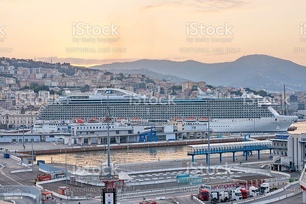 Cruise Ship in Genova stock photo