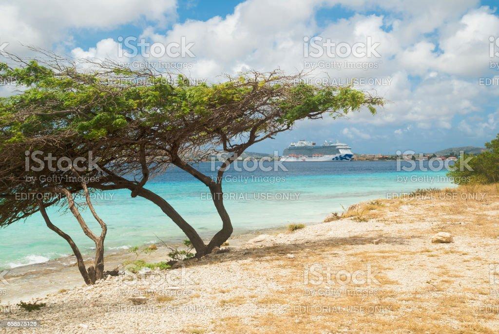 Cruise ship in Kralendijk, Bonaire stock photo