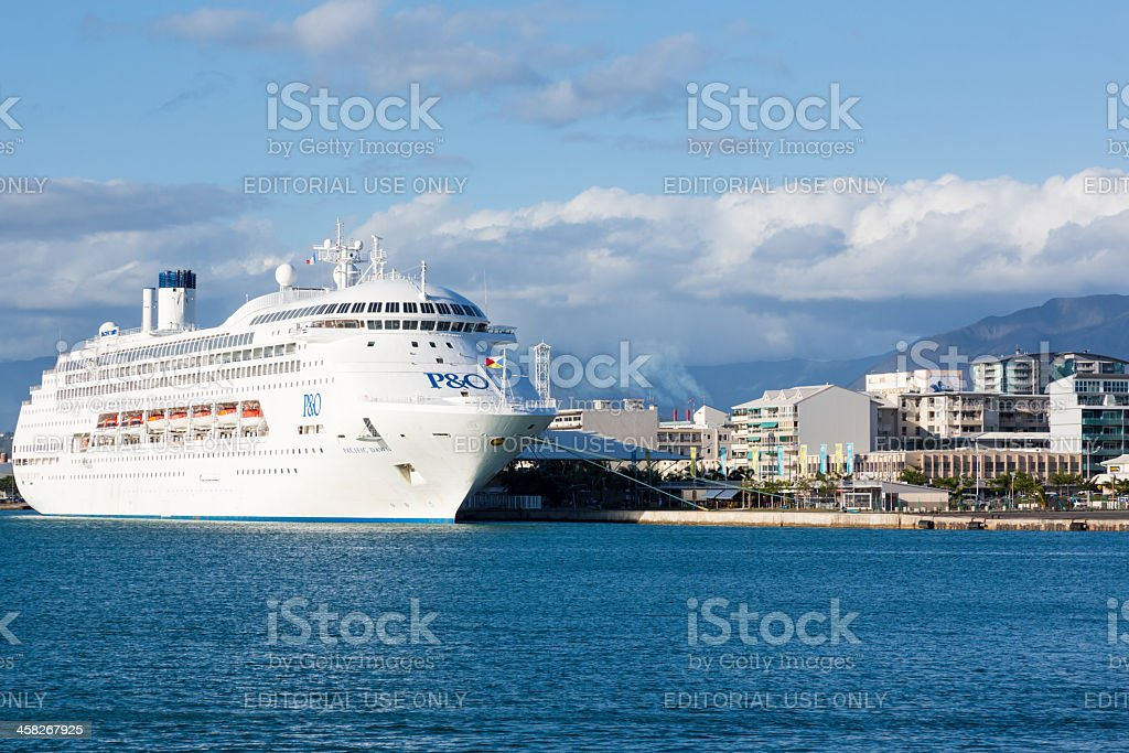 Cruise ship in Noumea harbour, New Caledonia royalty-free stock photo
