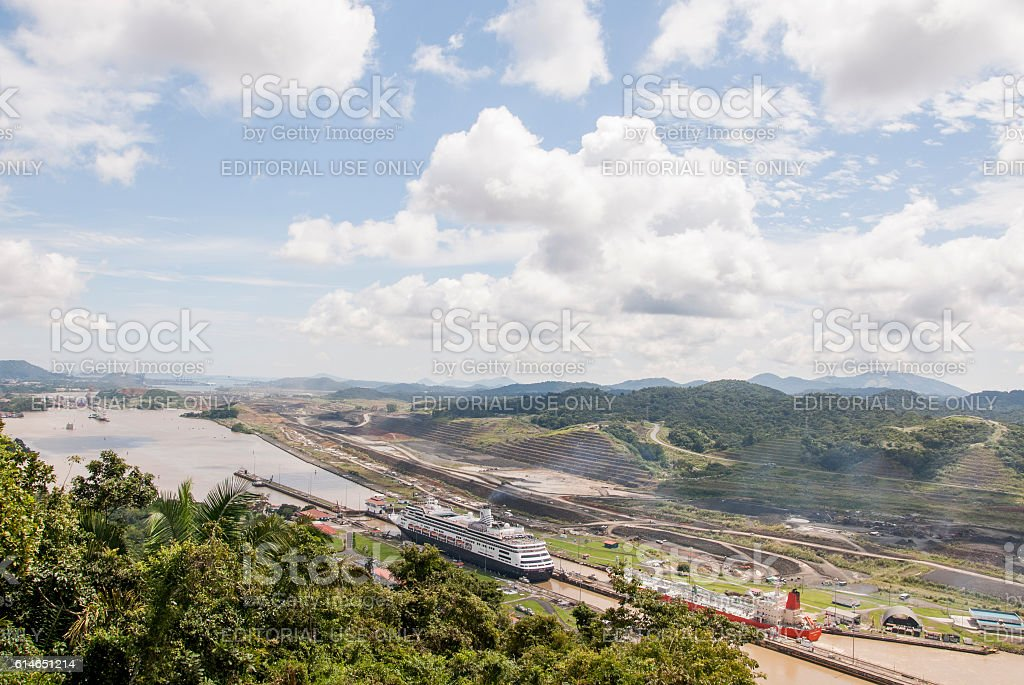Cruise ship in Panama Canal stock photo