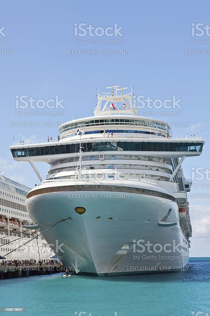 Cruise Ship in port of St. Maarten royalty-free stock photo