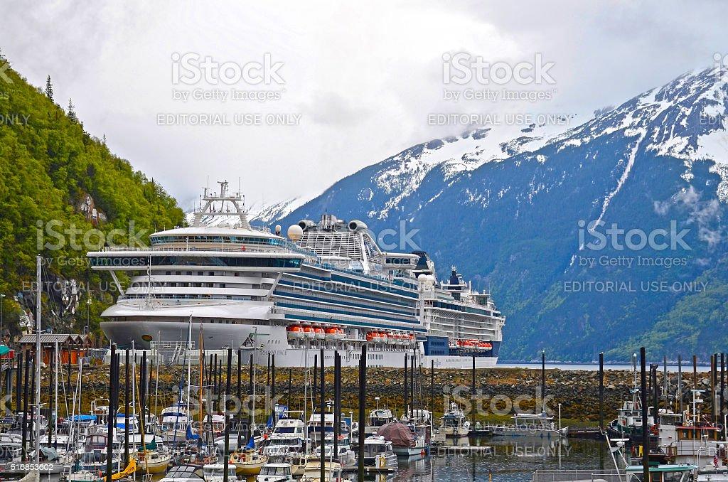 Cruise ship in Skagway harbor, Alaska, USA stock photo