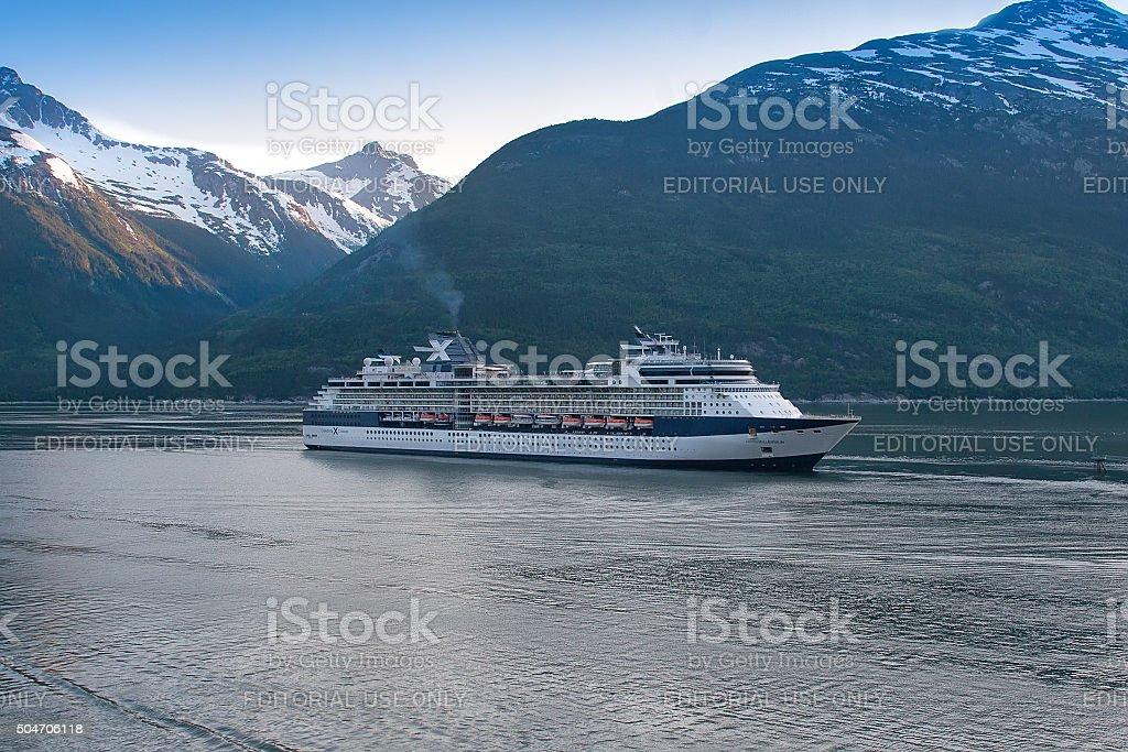 Cruise Ship in Skagway stock photo