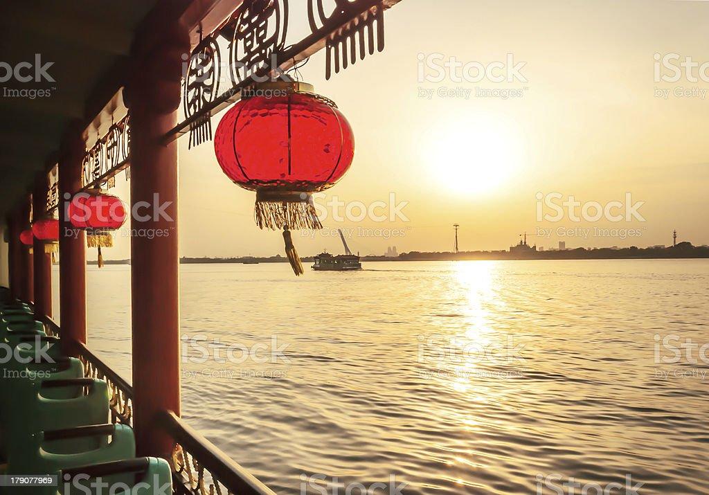 Cruise ship in Songhua River stock photo