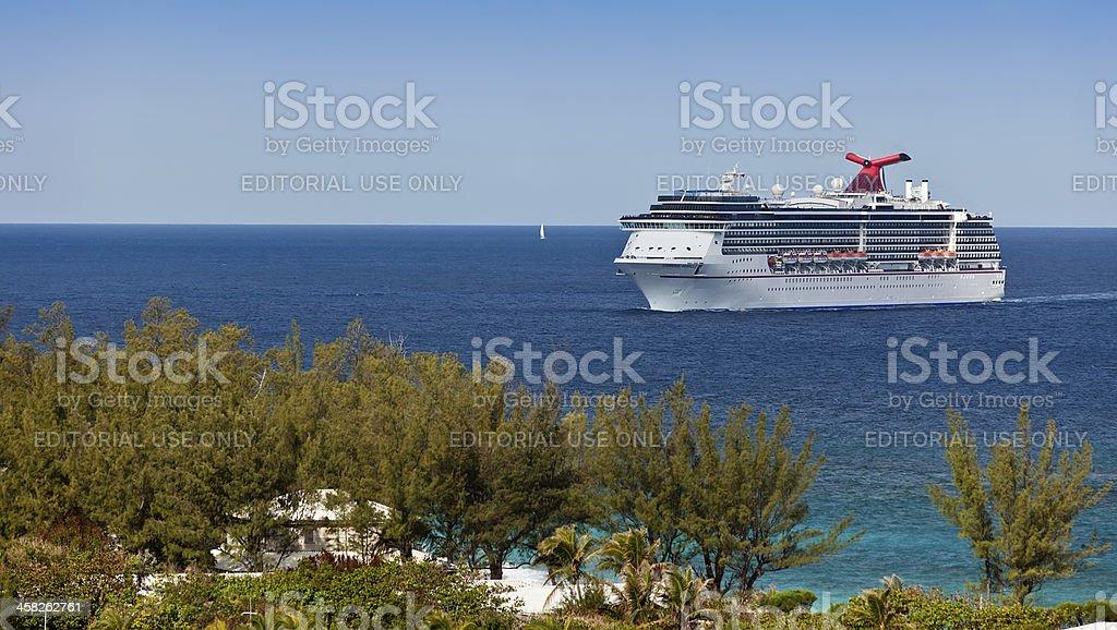 Cruise Ship in the Bahamas stock photo