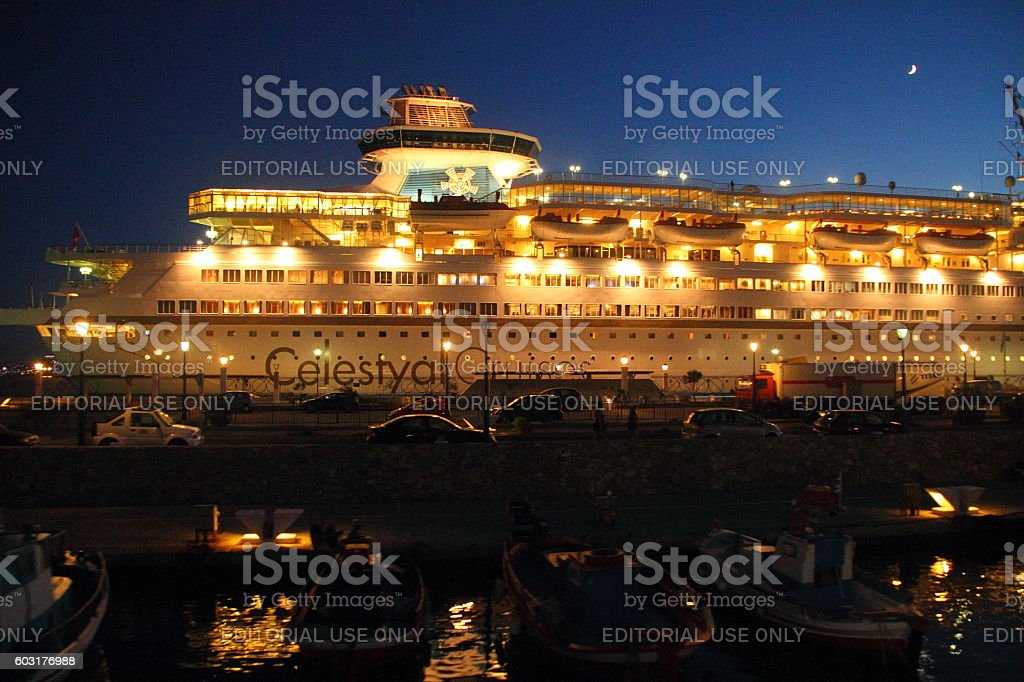 cruise ship in the evening light stock photo