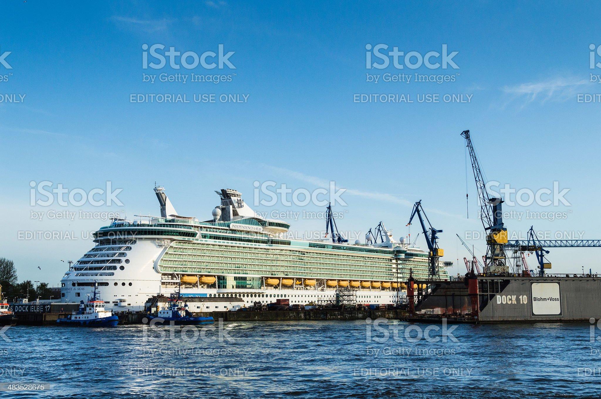 Cruise Ship in the Harbor of Hamburg royalty-free stock photo