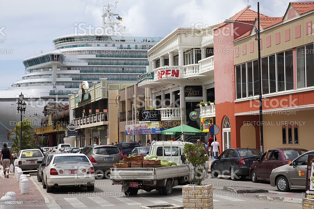 Cruise ship in town stock photo