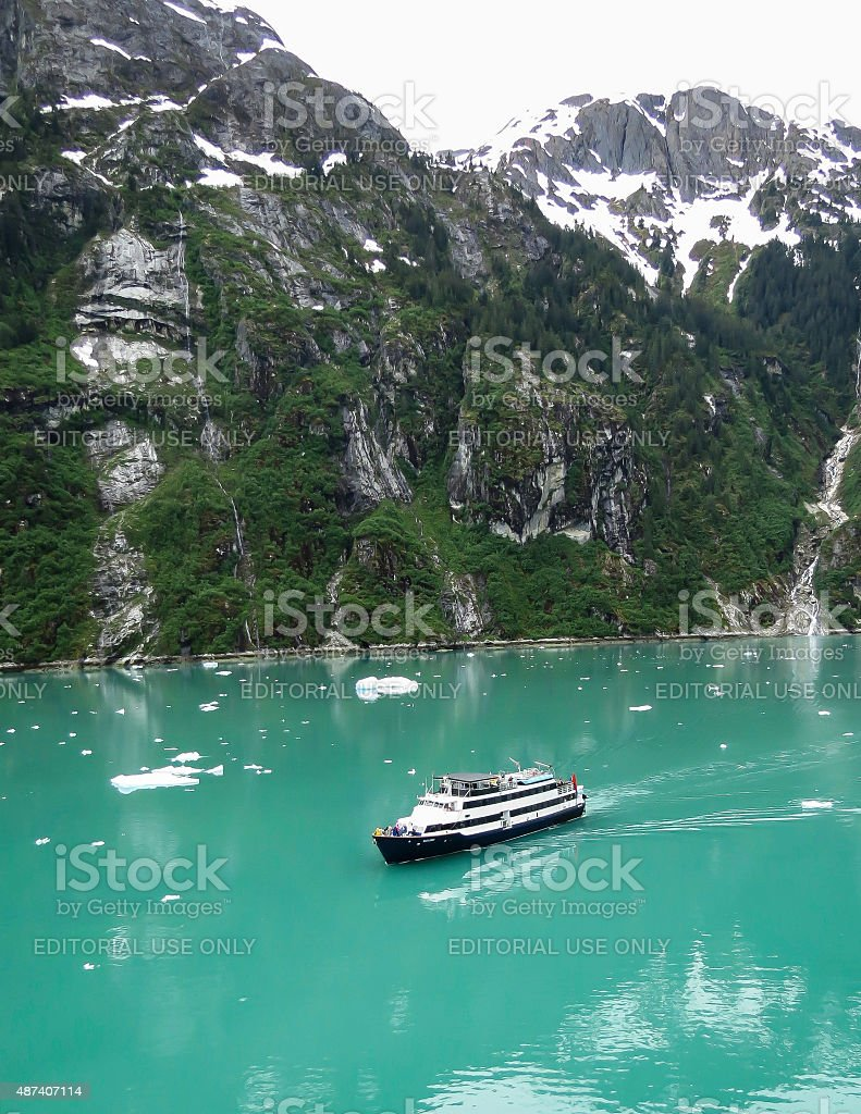 Cruise Ship in Tracy Arm stock photo