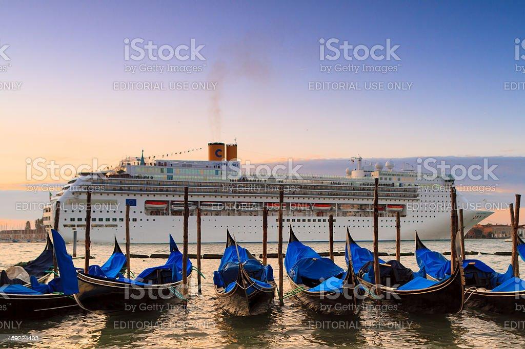 Cruise ship in Venice, Italy stock photo