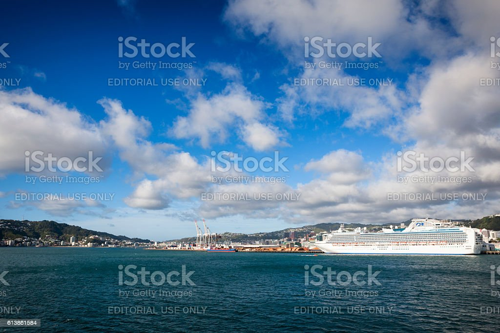 Cruise ship in Wellington Harbour, New Zealand stock photo