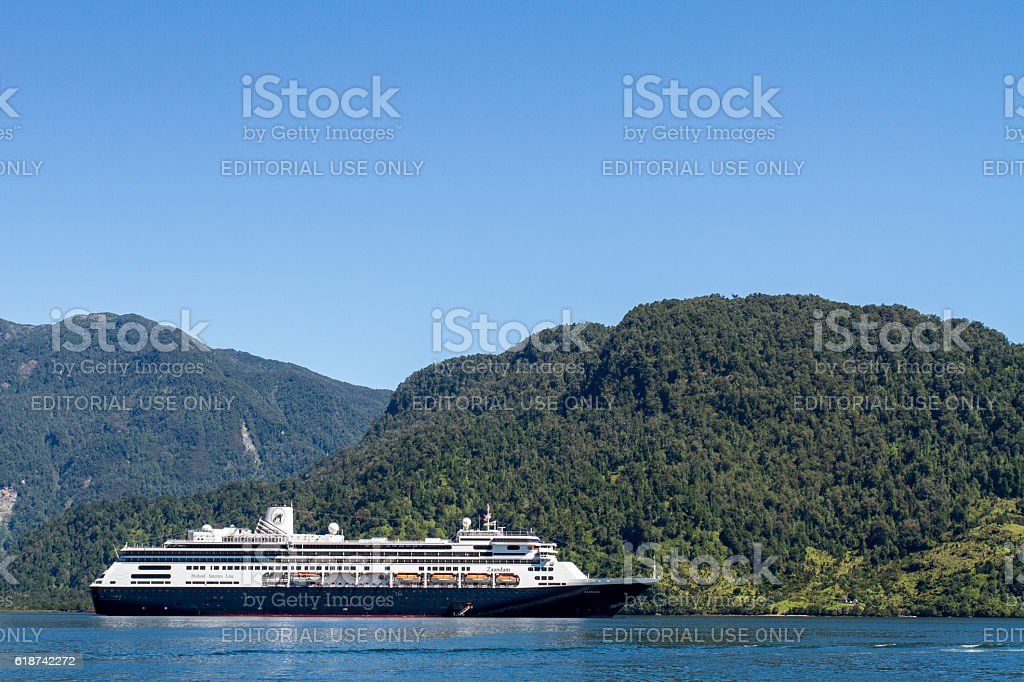 Cruise Ship Inside Passage Of The Chilean Fjords stock photo