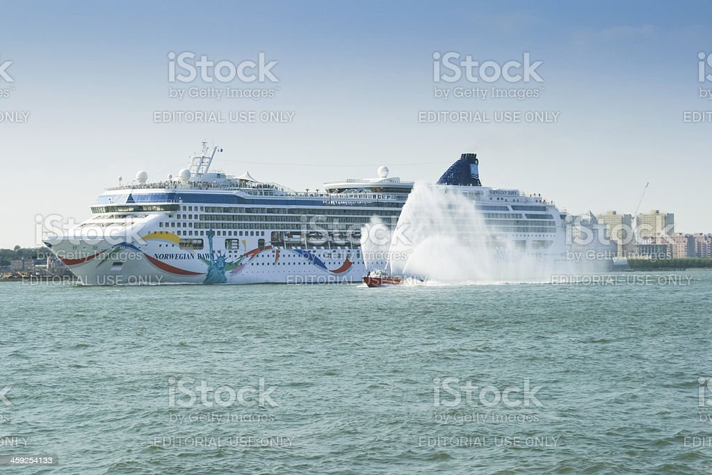 Cruise Ship leaving New York City. stock photo