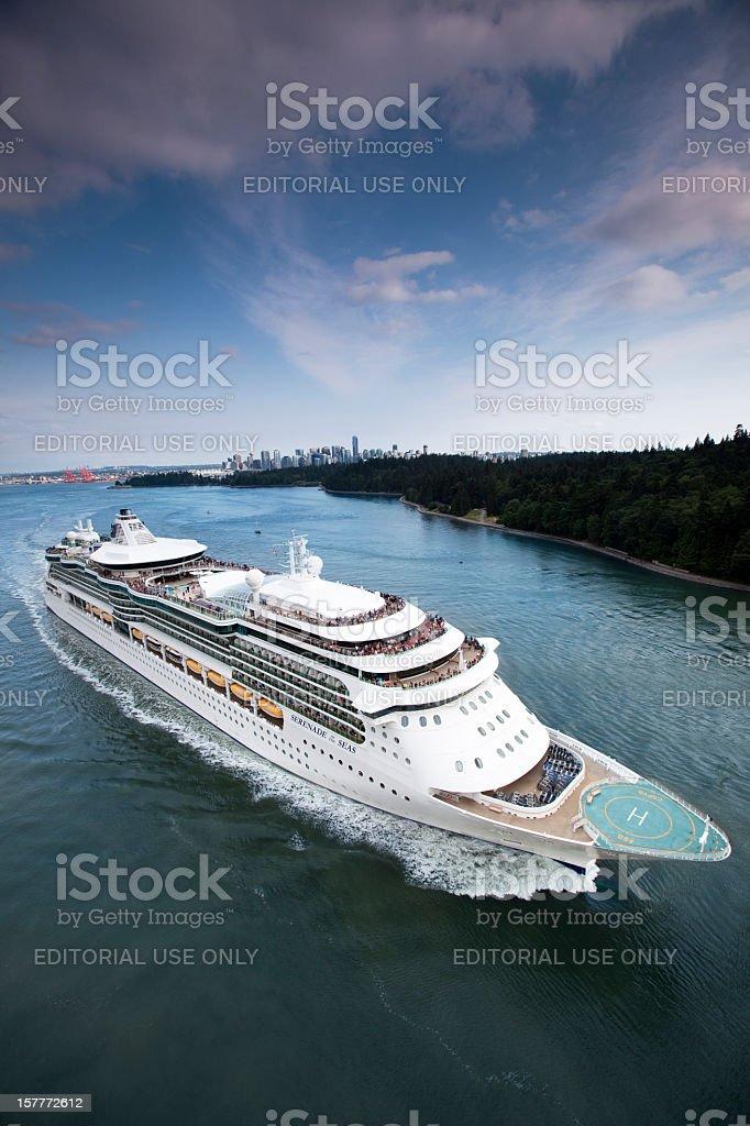 Cruise Ship Leaving Port royalty-free stock photo