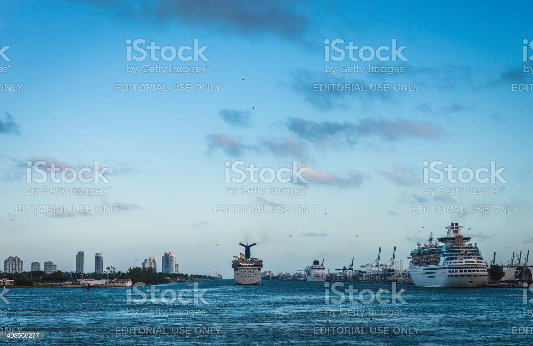 Cruise Ship Leaving the Miami Cruise Terminal royalty-free stock photo