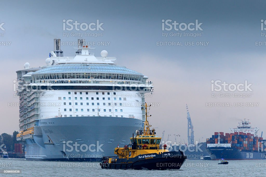 cruise ship leaving the port of Rotterdam stock photo