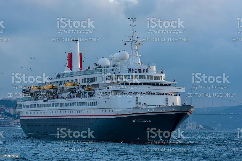 Cruise ship MV Boudicca in Istanbul - Bosphorus bridge stock photo