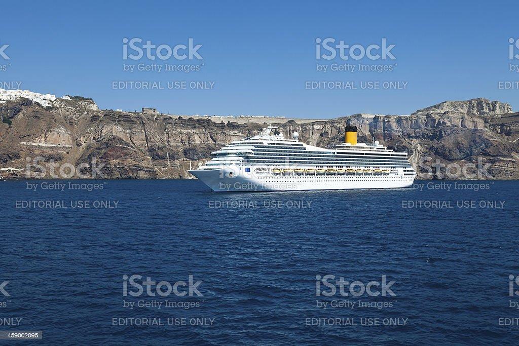 Cruise ship near Santorini royalty-free stock photo