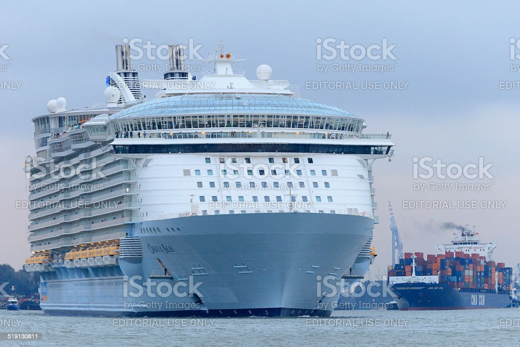 cruise ship MS Oasis of the Seas leaving Rotterdam stock photo