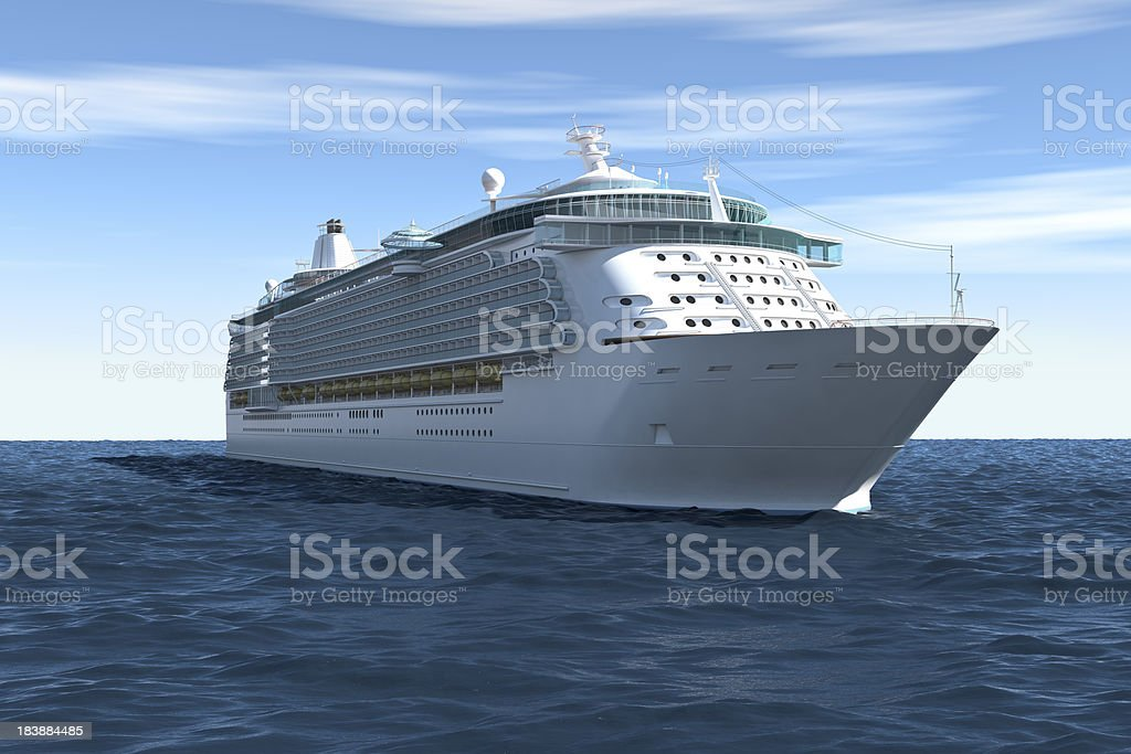 Cruise Ship, on Blue Sky with Clouds (XXXL) royalty-free stock photo