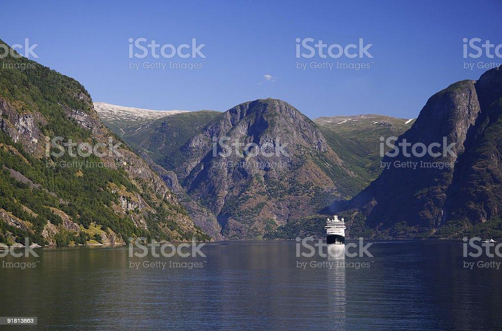 Cruise ship on fjord royalty-free stock photo