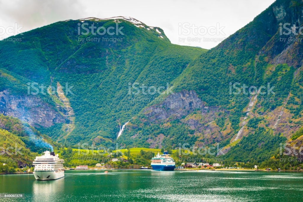 Cruise ship on fjord Sognefjord in Flam Norway stock photo