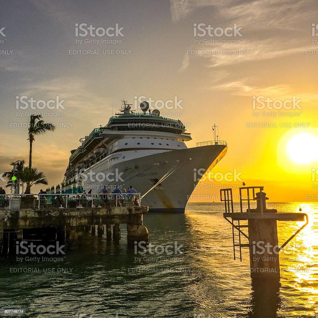 Cruise Ship on sunset, Key West stock photo
