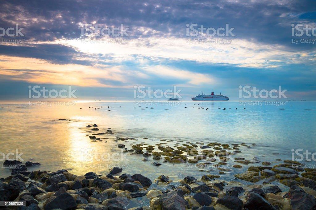 cruise ship on the north sea stock photo