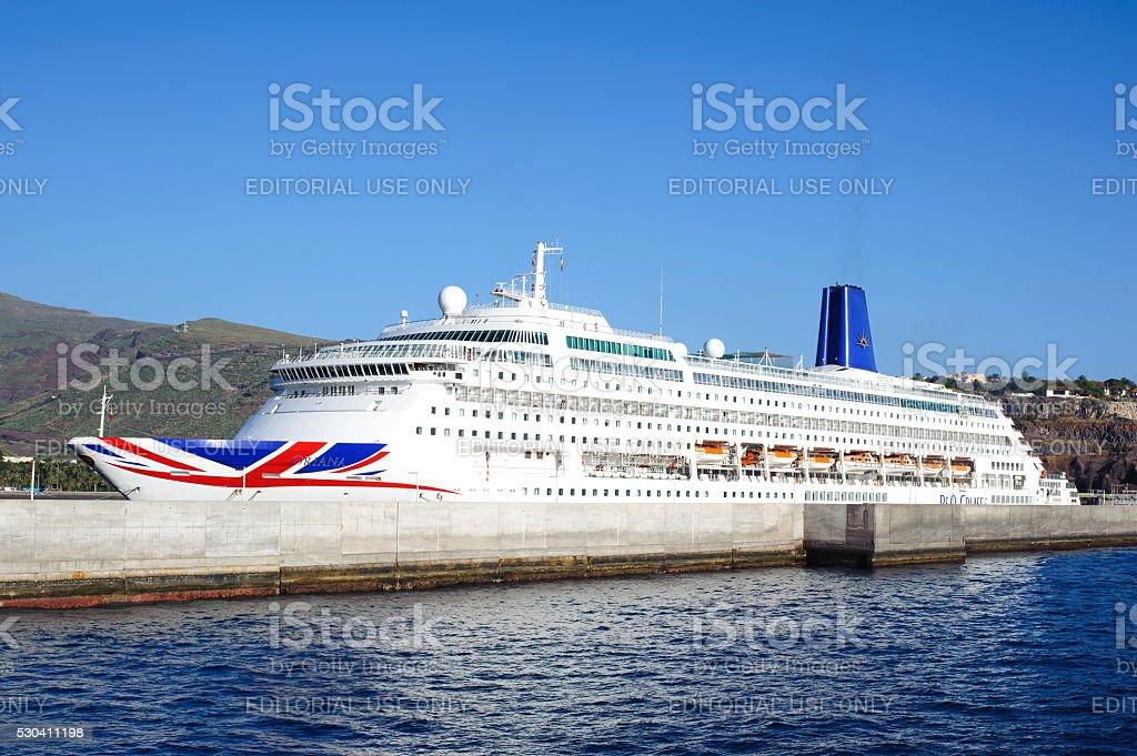 Cruise ship Oriana in Port San Sebastian de la Gomera. stock photo