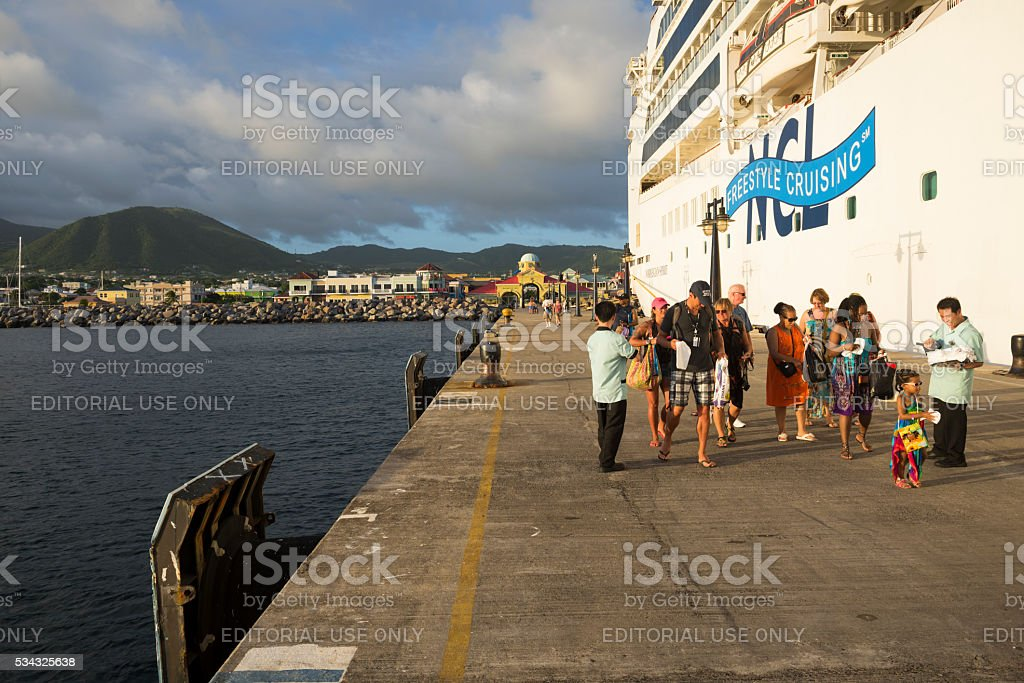 Cruise ship passengers on Saint Kitts stock photo