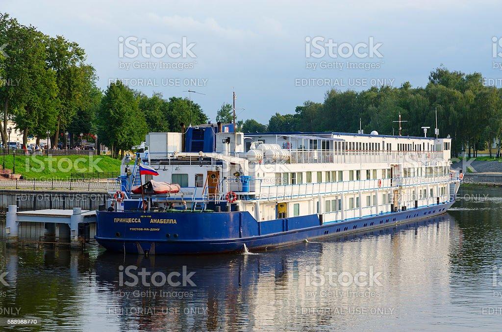 Cruise ship Princess Annabella on river quay, Uglich, Russia stock photo