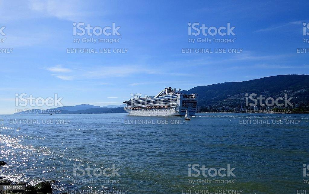 Cruise Ship - Princess Cruise line is leaving Vancouve stock photo