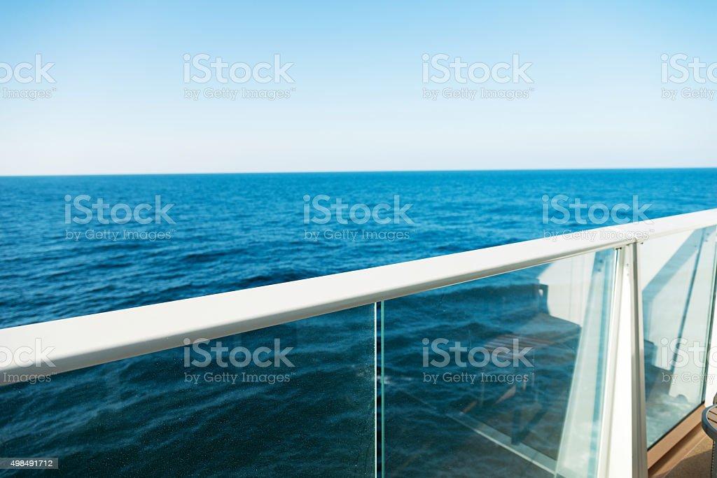 Cruise ship railing stock photo