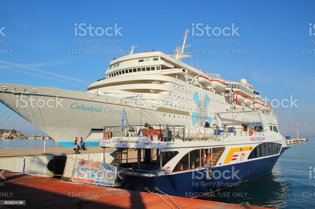 cruise ship resting in the port of kusadasi stock photo