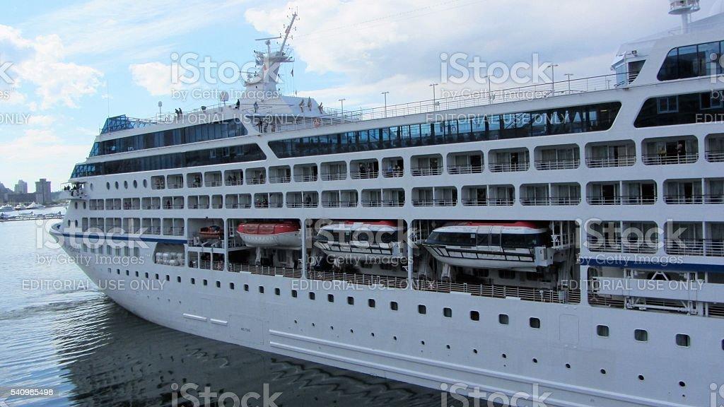 Cruise Ship- Seven Seas Navigator is leaving Vancouver stock photo
