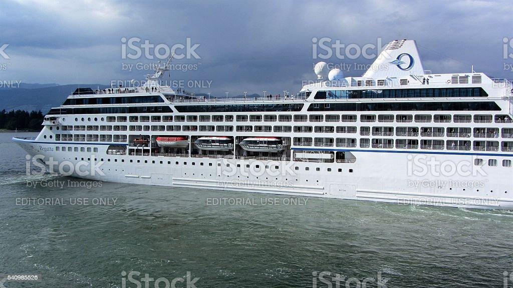 Cruise Ship - Seven Seas Navigator is leaving Vancouver stock photo